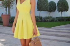 Yellow skater dress and heels