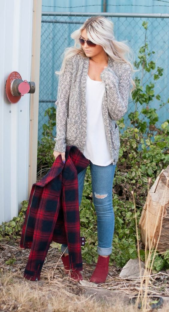 a cozy sweater, a flannel jacket, distressed denim and red ankle boots
