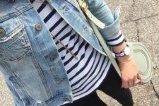 02 a jean jacket, a stripe top, black jeans, tan flats