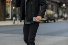 02 black jeans, a black coat, a grey tee, brown shoes