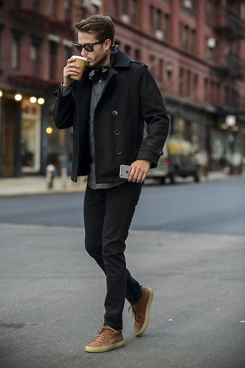 Picture Of black jeans, a black coat, a grey tee, brown shoes