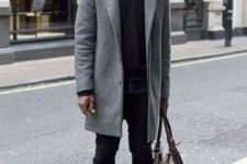 02 black jeans, a black sweater, a grey coat and navy chucks