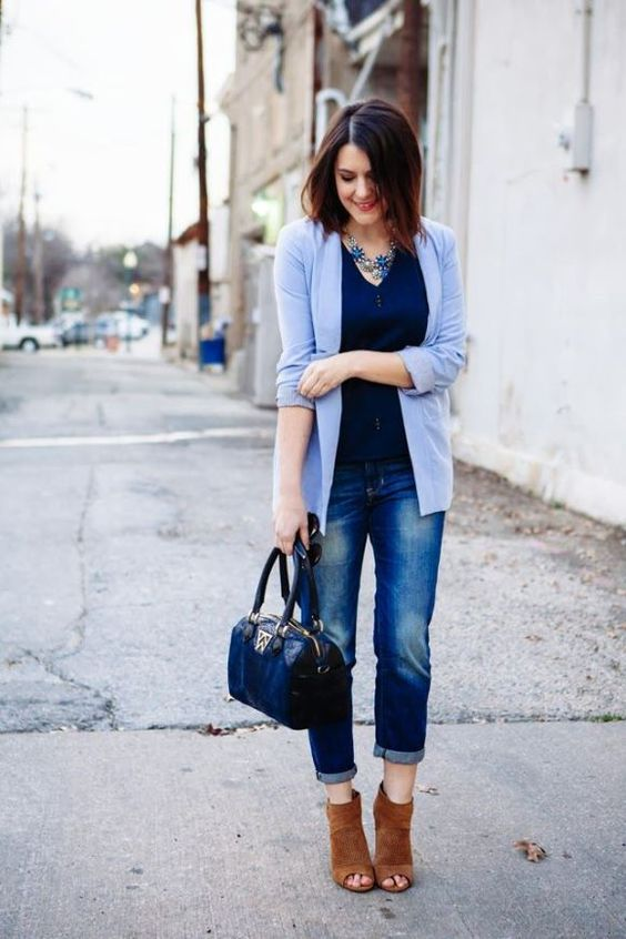 Picture Of Bleached Jeans A Navy Top A Serenity Cardigan