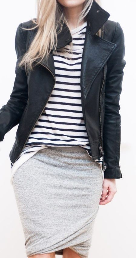 a black leather jacket, a striped top and a mini tulip skirt