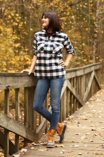 a plaid shirt, jeans and duck boots