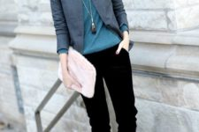 03 black cropped trousers, a dark green jersey, a grey jacket and black shoes