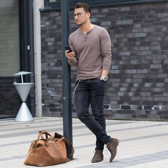 black denim, a brown long-sleeve, brown suede shoes (great for an office)