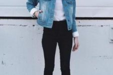 03 black jeans, a white top, brown ankle boots and a denim jacket