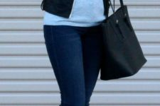 03 black leather jacket, a grey jersey, blue jeans and leather loafers
