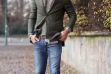 03 blue jeans, a grey sweater and blazer, cream suede shoes