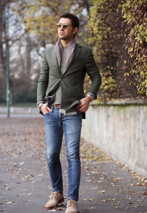 blue jeans, a grey sweater and blazer, cream suede shoes