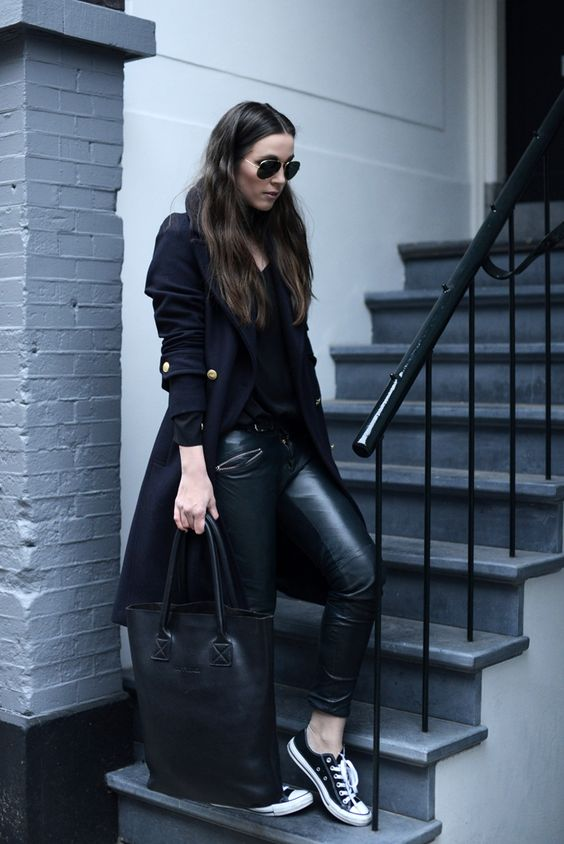all-black look with trousers, Converse and a coat