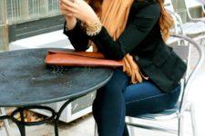 04 black blazer, skinny denim, flats and an ocher scarf