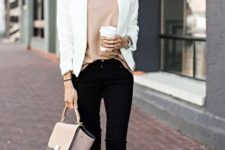 04 black jeans, a blush top, a white blazer and tan suede boots