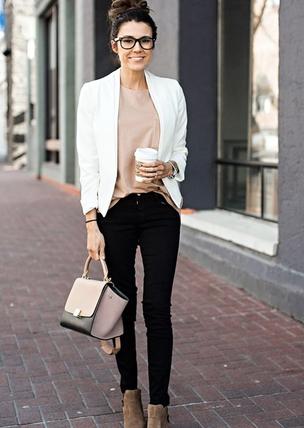 black jeans, a blush top, a white blazer and tan suede boots