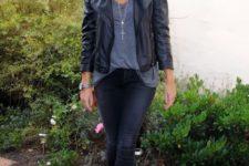 04 black jeans, a grey tee, a black leather jacket