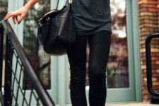 04 black jeans, a grey tee and tan suede ankle booties