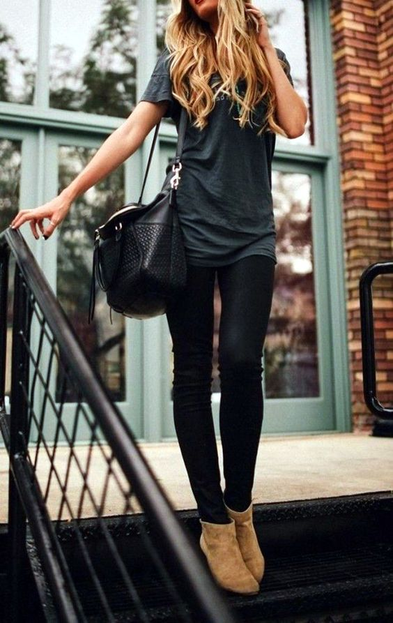 black jeans, a grey tee and tan suede ankle booties