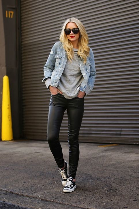 black leather leggings with a denim jacket and black Converse