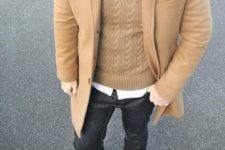 04 camel topcoat over a cable-knit sweater and a white button down shirt with black denim