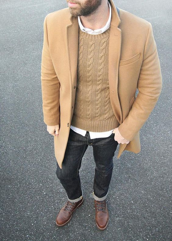 Preferred Picture Of camel topcoat over a cable knit sweater and a white  UA52