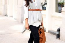 05 black jeans, a white shirt, a grey scarf and a thin tan belt