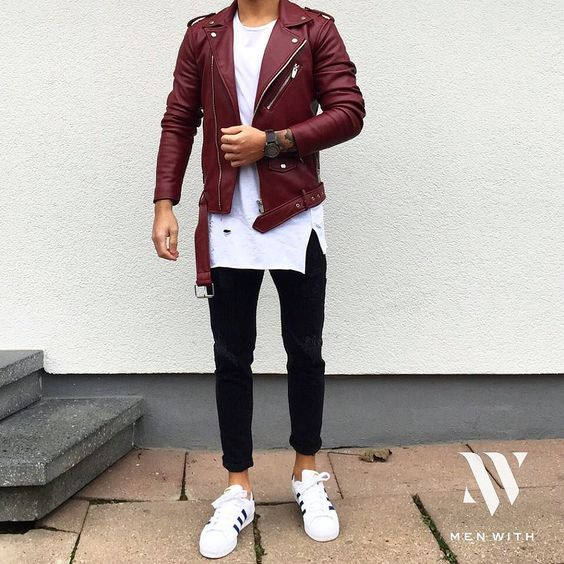 black jeans, a white tee, a red leather jacket and white chucks