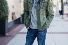 05 blue denim, a grey tee, a military jacket and grey chucks