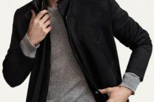 05 dark denim, a grey jersey and a black jacket