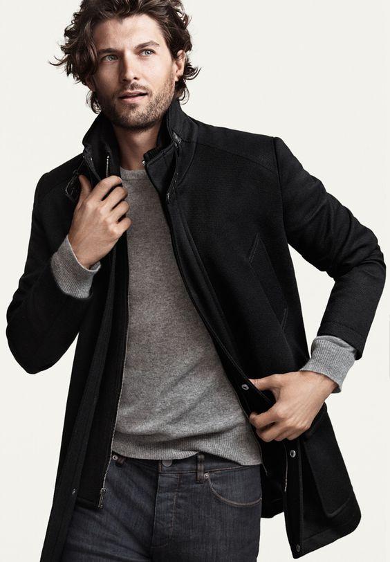 dark denim, a grey jersey and a black jacket