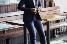 05 navy suit, a white shirt and nude pumps