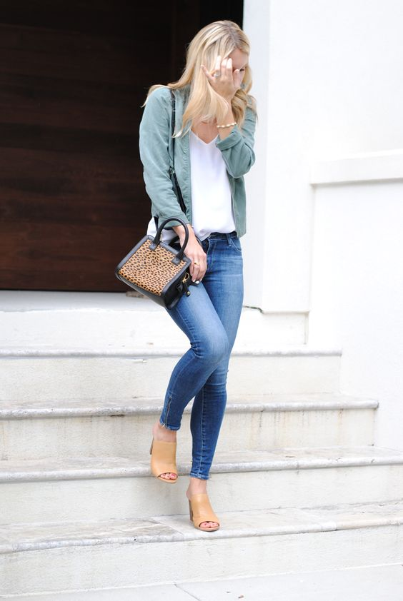 06 a moto jacket, jeans, nude mules