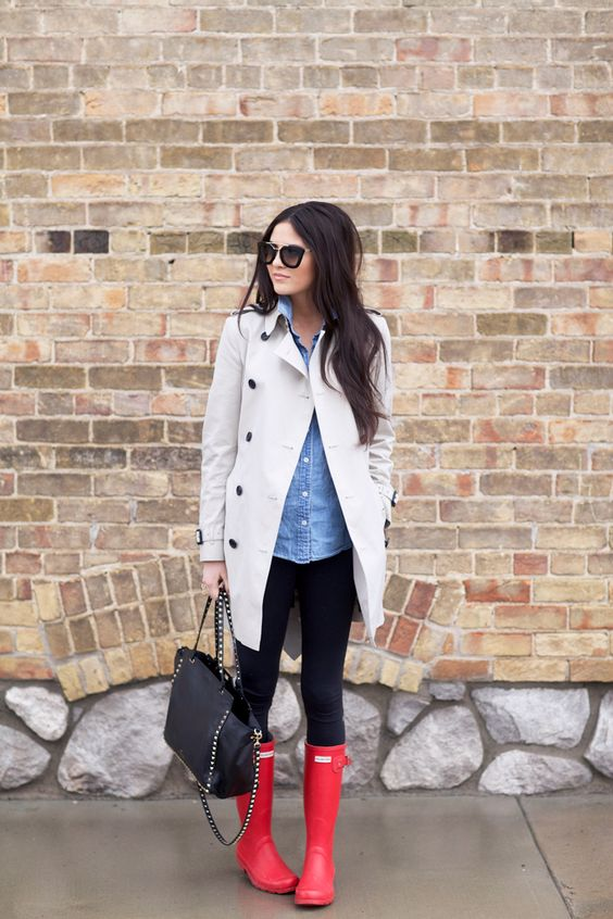 black leggings, a chambray shirt and a cream trench coat