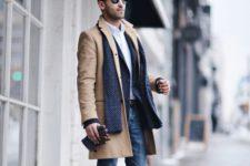 06 blue jeans, a navy blazer, a camel coat and ocher shoes