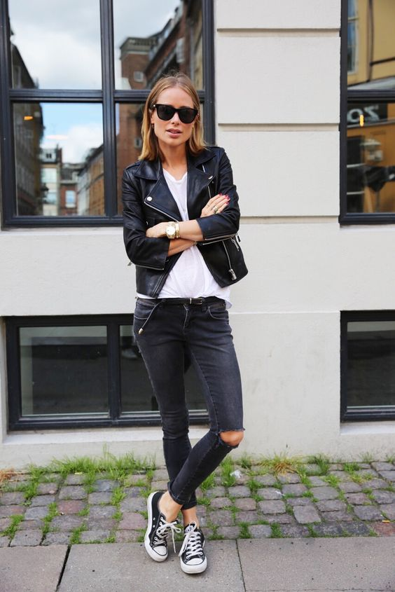 black jeans, a white t-shirt and a black leather jacket