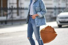 07 blue denim, a striped tee and grey slip-ons