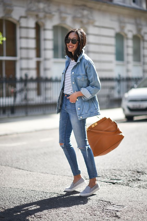 blue denim, a striped tee and grey slip ons