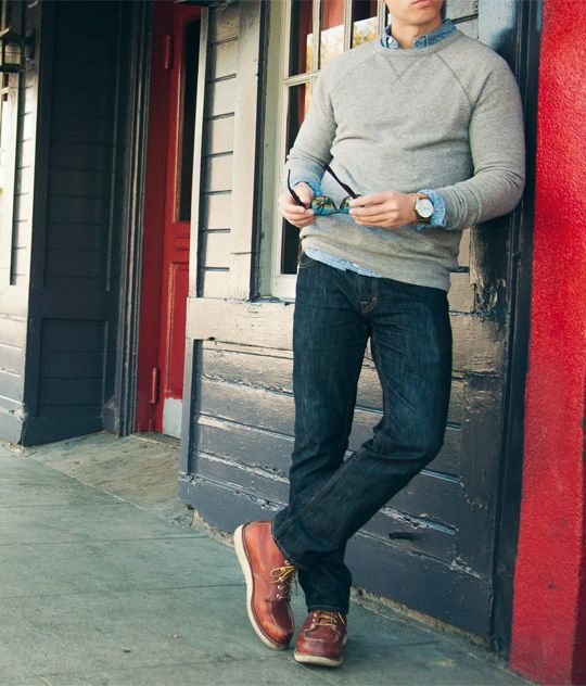 dark denim, a grey sweater over a shirt and brown shoes as a nice casual friday outfit