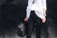 08 black leather pants, an oversized shirt, black bag and white heels