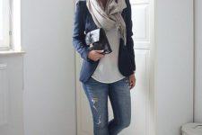08 blue denim, a navy jacket, a white top, black flats and a light grey scarf