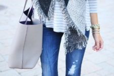 08 blue denim, an oversized grey scarf and nude suede boots