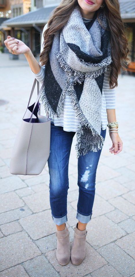 blue denim, an oversized grey scarf and nude suede boots
