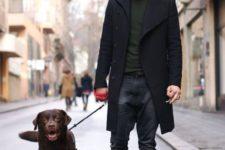 08 dark denim, a dark green jersey, a black coat, shoes