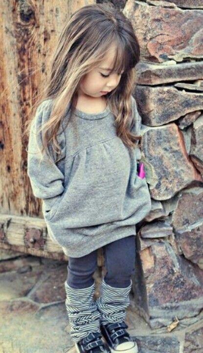 grey dress, black leggings, striped leg warmers, sneakers