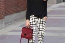 09 a black shirt, checked trousers, black heels and a burgundy bag