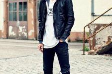 09 black leather jacket, a printed tee, black ripped jeans and leather Converse