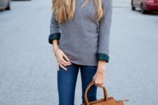 09 blue jeans, a grey sweater, a plaid shirt and grey heels