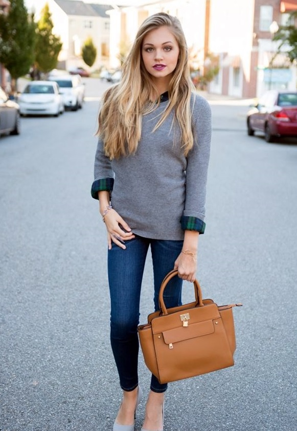 Picture Of blue jeans, a grey sweater, a plaid shirt and grey heels