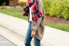 09 blue ripped jeans, a brown long cardigan and a plaid scarf