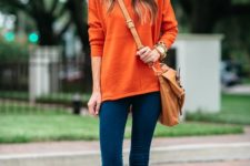 09 blue skinnies, an orange sweater and leopard flats